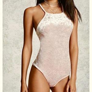 Forever 21 Crushed Velvet Cami Bodysuit Pink S